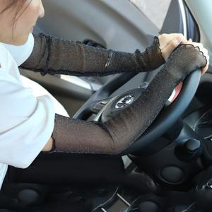 夏季防晒袖套冰袖女网纱脚套两用冰丝手套手臂套薄长款男护臂袖子图片