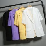 短袖雪纺小西装外套女2020新款夏季韩版宽松薄款西服中长款防晒衣
