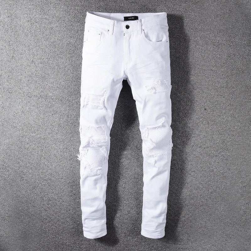 Fog 2020 ins new product Amiri white jeans hole patch ins elastic slim Leggings men