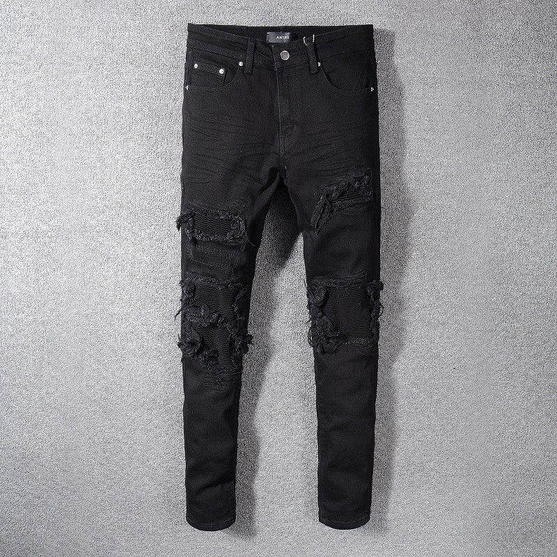 2020 high street fashion brand black fashion mens fog hole patch beggar pants elastic Amiri slim leg jeans