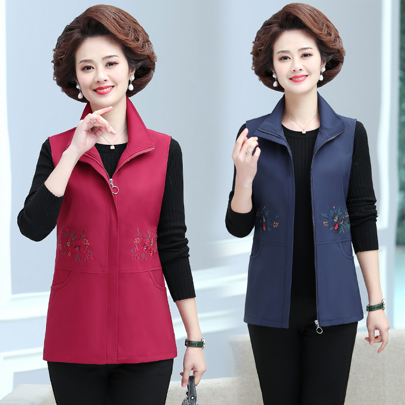 Zipper embroidered vest middle-aged and elderly mothers fashion versatile spring coat short foreign style vest large spring and autumn vest