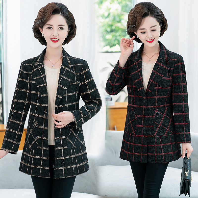 Spring and autumn womens Lapel Plaid suit middle aged mothers mother-in-laws coat suit medium length coat wide fattening formal dress