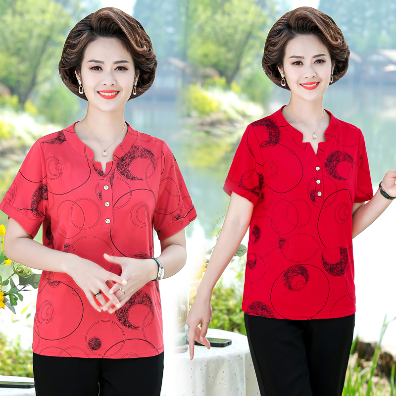 Summer clothes for middle aged women aged 40-50-60 mothers Day blouse short sleeve T-shirt mothers shirt