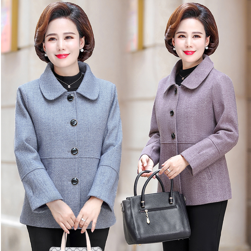 Autumn and winter womens Lapel hemp plaid coat young and middle-aged mothers mother-in-law blazer, westernized coat, wider and fatter