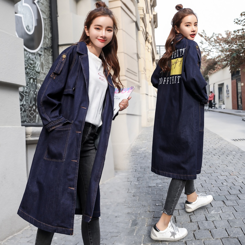 Autumn and winter womens suit Lapel denim coat windbreaker middle-aged and young fat mother pocket button coat wide and fat
