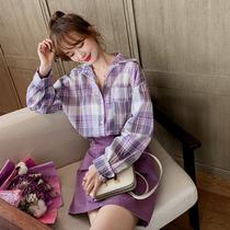 港味复古格子衬衫女2020新款夏季韩版宽松长袖上衣薄款防晒衫外套