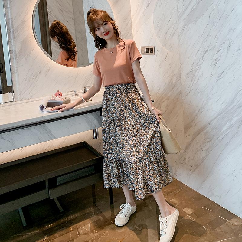 甜美碎花套装裙女2020春新款纯色短袖T恤+高腰半身裙小清新两件套