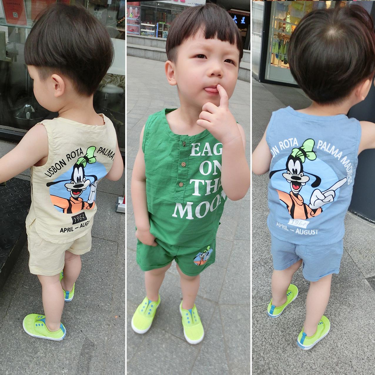 Детей летом 2016 Новый корейский волна детей набор мальчиков мультфильм ребенка жилет брюки хлопка Твин