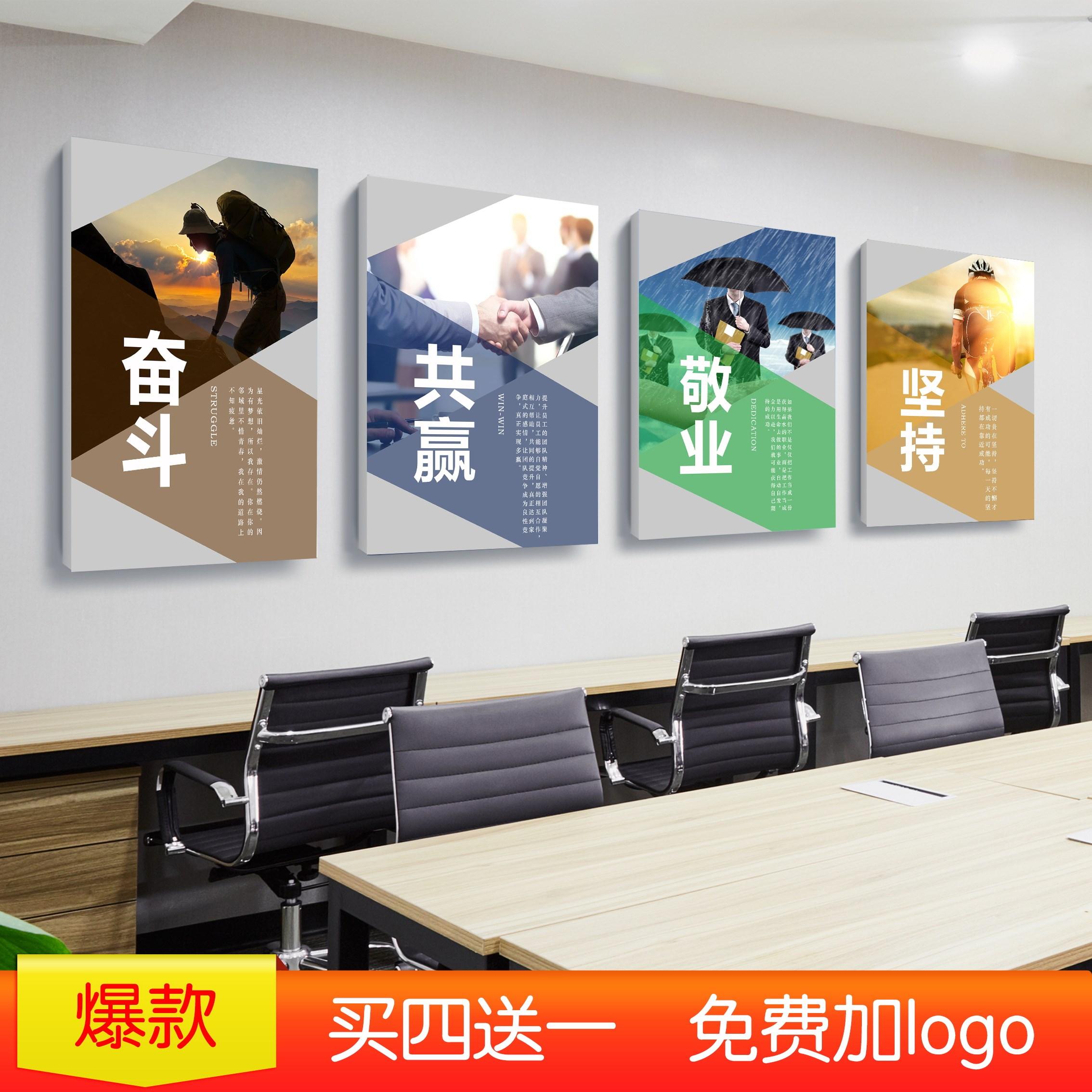 公司装饰画会议室励志背景墙车间走廊励志标语企业文化励志无框画