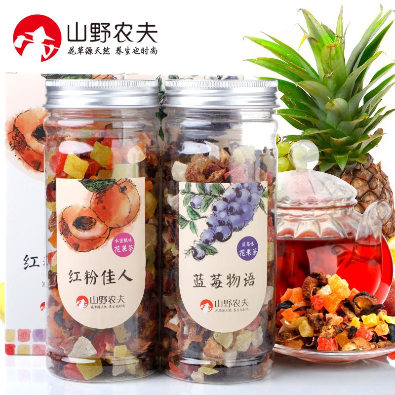 山野農夫 花果茶 水果茶果粒茶果味茶 藍莓水蜜桃味 150克^~2 包郵