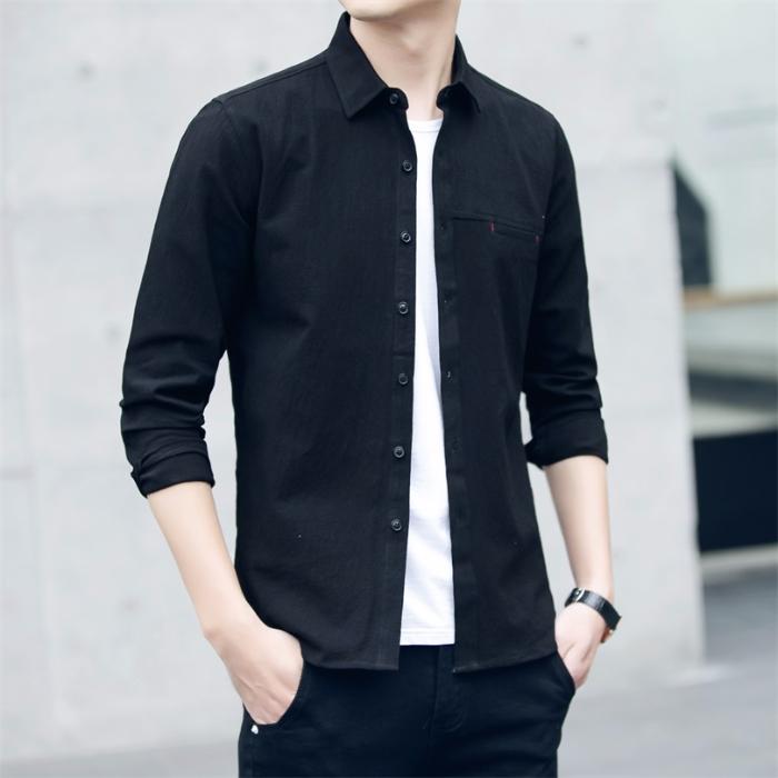 2020新款男士衬衣长袖秋款薄款翻领纯棉衬衫学院风休闲衬衫