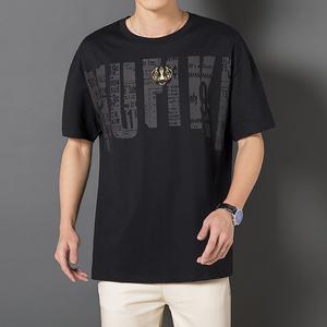 大码男装T恤潮牌时尚T恤男士短袖宽松春夏款圆领短袖t恤,男装T恤,金苹果高端男装