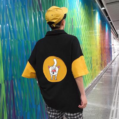 时尚潮流短袖卡通小狗贴标翻领T恤男夏A093-T88-P50