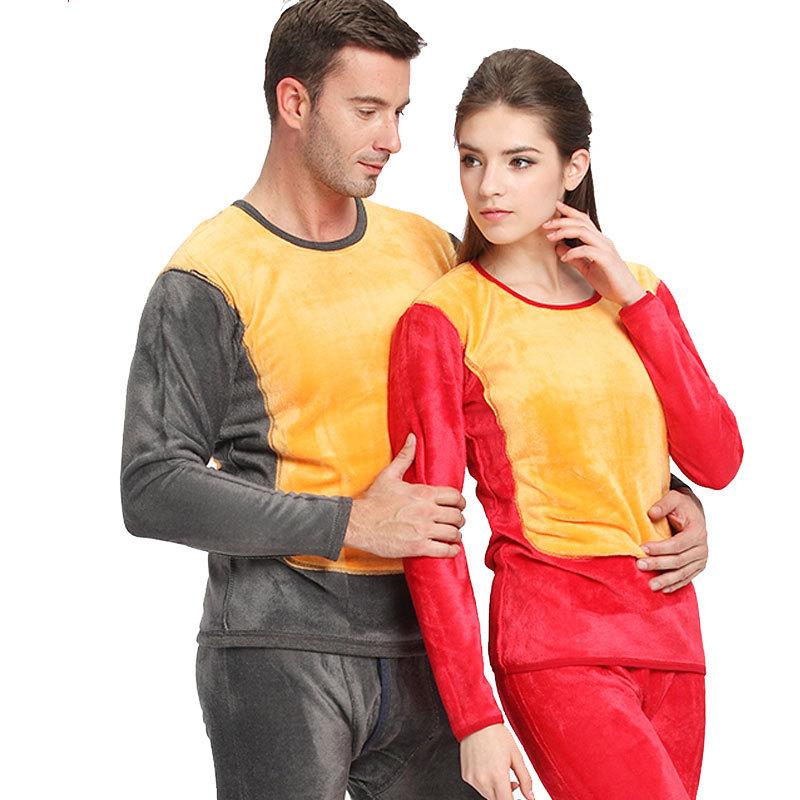南极人加厚情侣保暖内衣黄金双层暖甲男女士秋衣秋裤套装特价新款