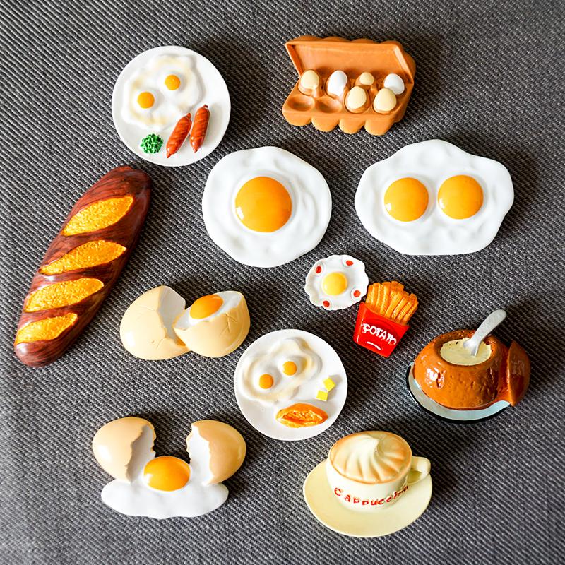 Маленький побег в соответствии с милый поглощать магнитный паста яйца хлеб творческий трехмерный холодильник поглощать магнитный паста магнит домой декоративный статья