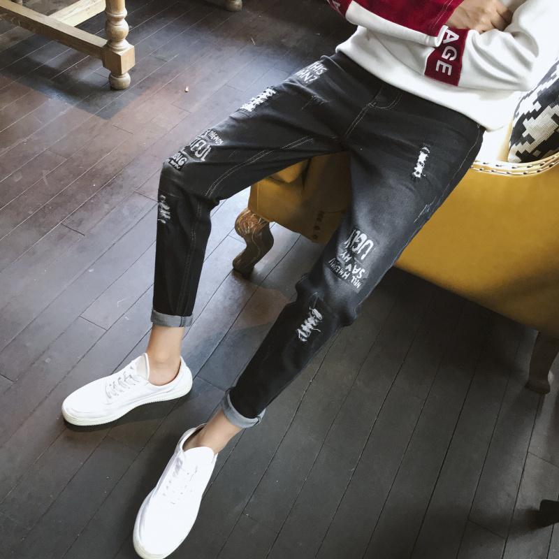 新款春季牛仔裤男韩版潮流修身小脚裤男青年弹力长裤子男834-P45