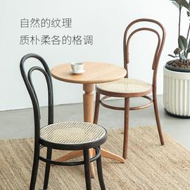 索耐特網紅藤編中古餐椅vintage家具設計師家用靠背椅復古實木椅圖片