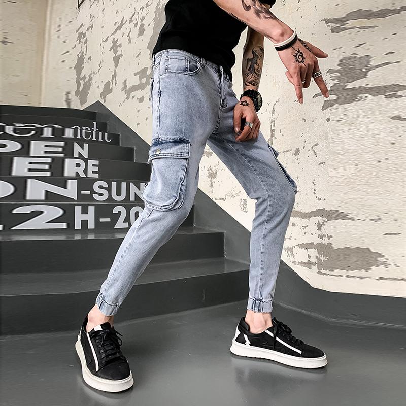 牛仔裤男韩版修身小脚工装裤社会精神小伙九分裤牛仔裤 K022 P60