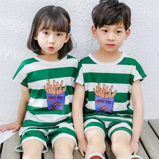 兒童睡衣夏季薄款純棉短袖套裝男童女童裝夏天小男孩子中童家居服