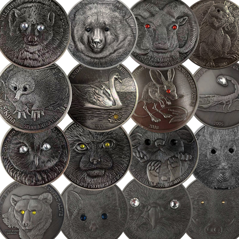 16枚全套单枚蒙古动物镶钻纪念币 十二生肖鼠羊纪念章500图格里克