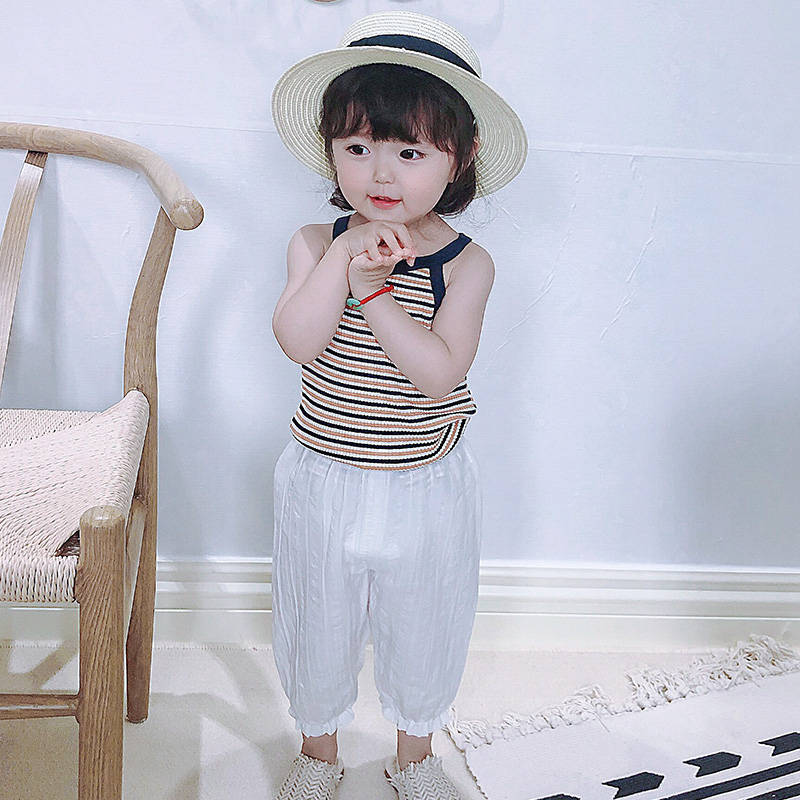 Childrens mosquito proof pants pure cotton girls clothing summer thin baby lantern pants boys childrens nine point pants summer