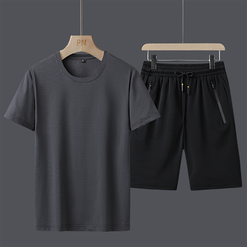 Sports leisure quick dry suit mens summer trendy ice silk short sleeve T-shirt thin breathable loose shorts