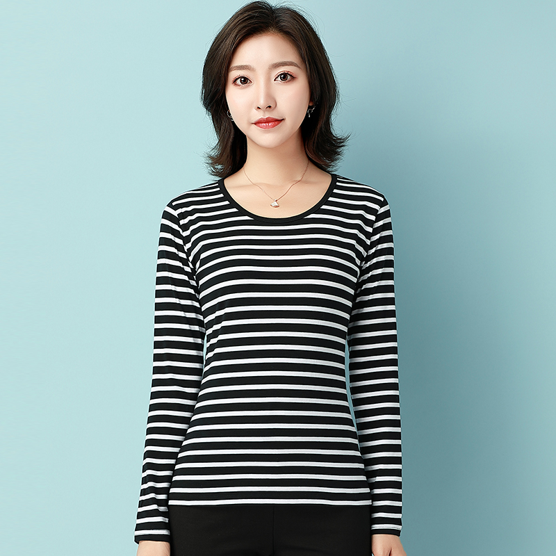 Large size womens basic shirt 2021 new fat mm loose and thin stripe Korean version Top Long Sleeve T-Shirt 200kg