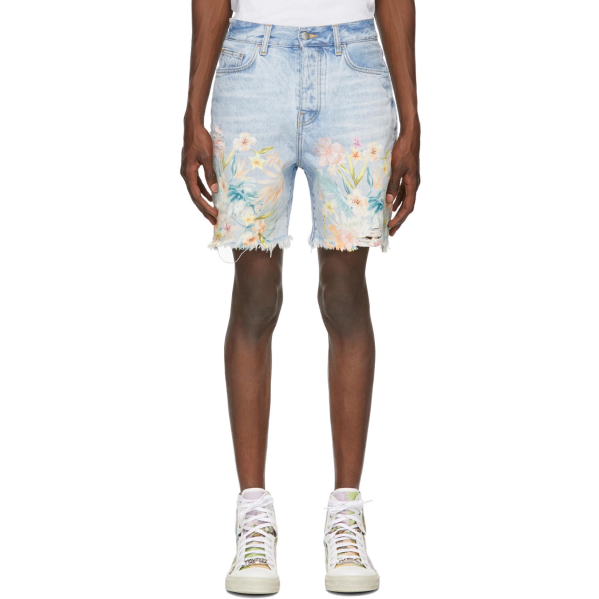 GI海外代购 Amiri 20SS 新款 浅蓝色 刺绣花朵图案 牛仔短裤