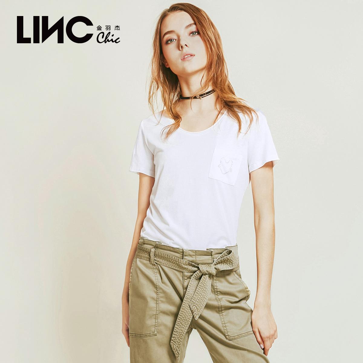 LINC金羽杰圆领白色网红纯棉短袖T恤女2020夏新款ins潮8231426