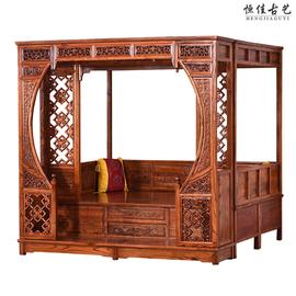 实木明清仿古新中式红木榆木雕花千工拔步踏步床月洞架子床双人床图片