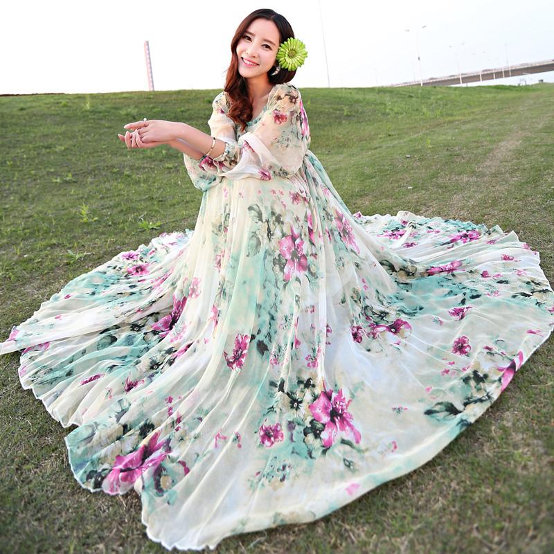 2021春夏新款大摆雪纺连衣裙波西米亚沙滩裙大码飘逸长裙度假裙女