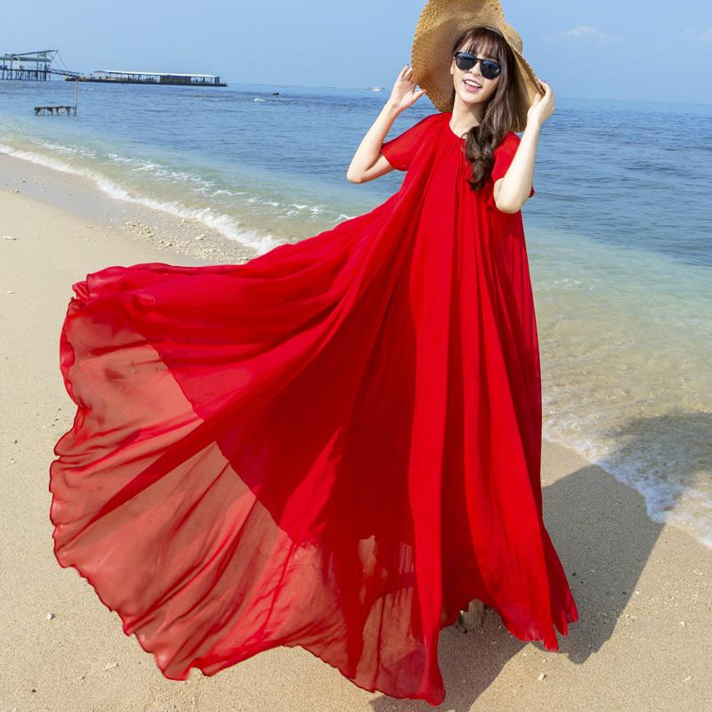 沙滩裙女夏2018新款雪纺连衣裙大码波西米亚海边度假沙滩仙女长裙