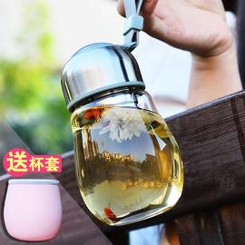 水滴玻璃杯便携女士水杯子泡茶杯可爱果汁杯创意随手杯带盖花茶