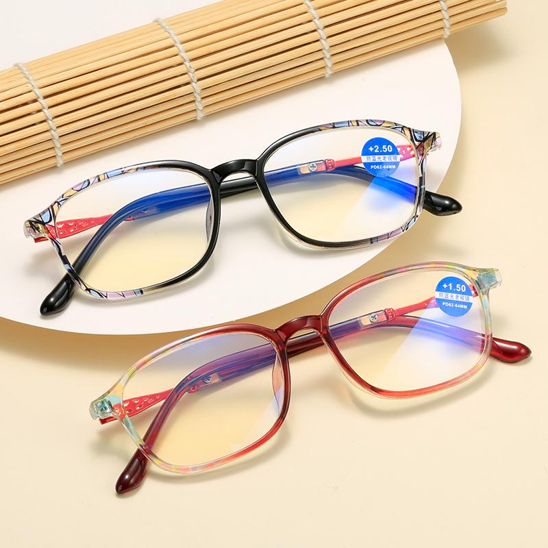 赤色快適復古防ブルーレイ老眼鏡黒男女高清閲読印紙メガネフレーム抗疲労レンズ