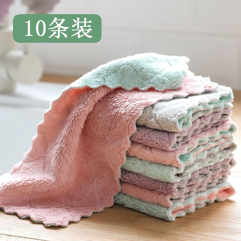 10片装不掉毛不沾油家务厨房清洁吸水擦手巾擦桌洗碗布抹布百洁布
