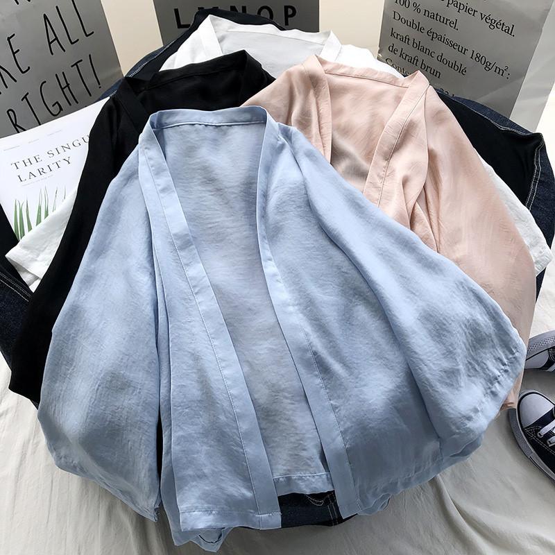 牛奶丝防晒衣女2020新款宽松仙女夏季薄款百搭学生短款披肩外套夏图片