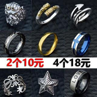男士个性韩版新款创意钛钢开口指环霸气潮流戒子六字真言食指戒指
