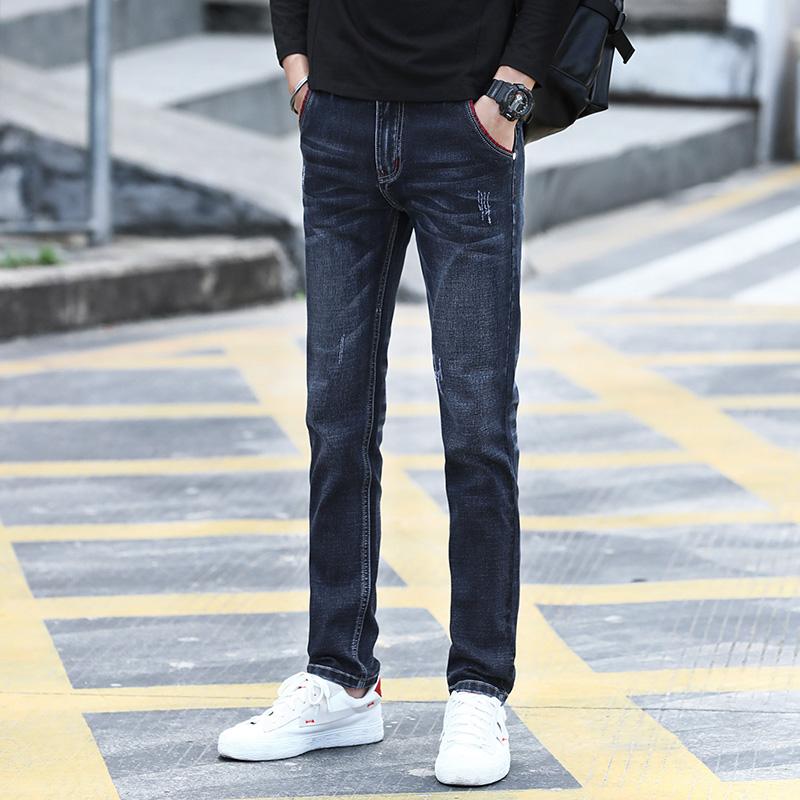 2020新款牛仔裤男士修身小脚韩版潮流秋季薄款学生休闲裤子QTZ002