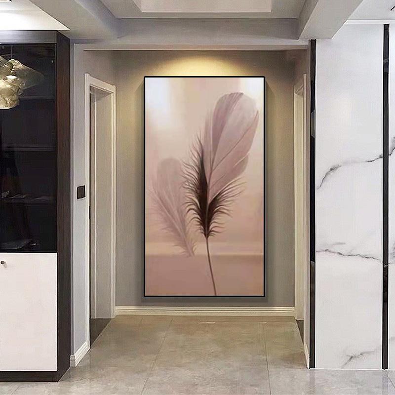 入戶玄關裝飾畫粉紅色羽毛純手繪油畫現代簡約過道走廊盡頭掛畫