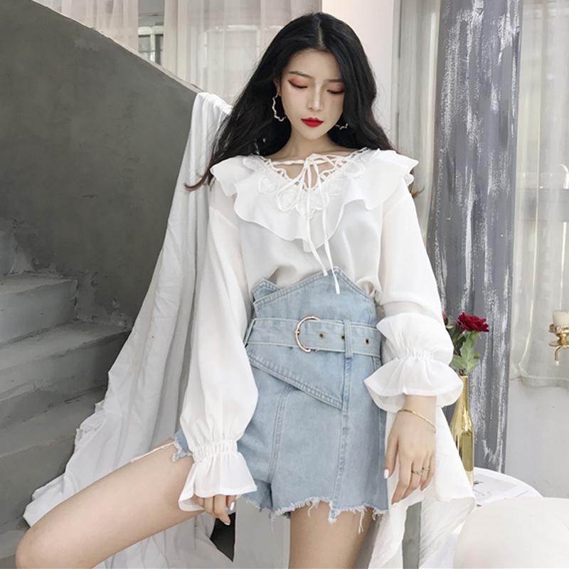秋装新款女装韩版时尚花边甜美系带荷叶边V领雪纺衫长袖衬衫上衣