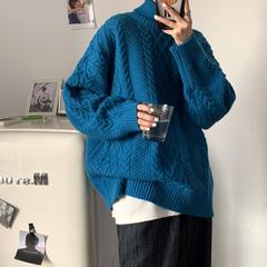 港风 高领麻花 女韩版宽松毛衣 针织衫A342-BK63-F85