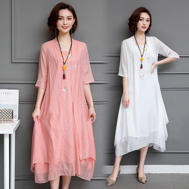 2019夏季文艺范大码棉麻连衣裙两件套女宽松休闲绣花亚麻长裙套装