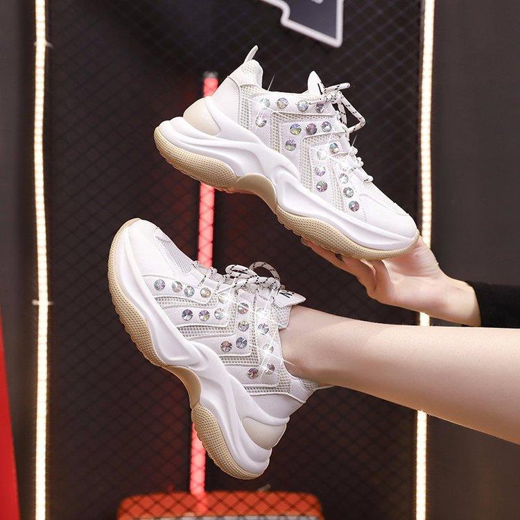 2020夏新款单鞋女鞋秋季圆头松糕底网面鞋中跟系带网纱网X72/P99