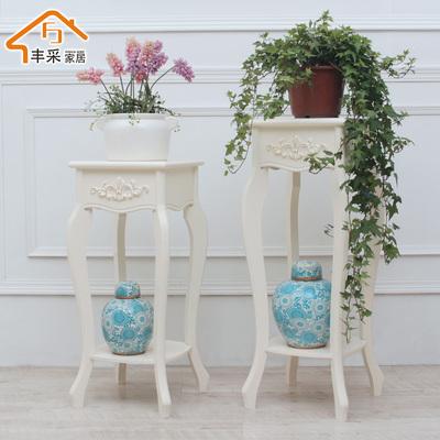 欧式创意花架实木质多层镂空卧室客厅置物架花盆架韩式电话架角几