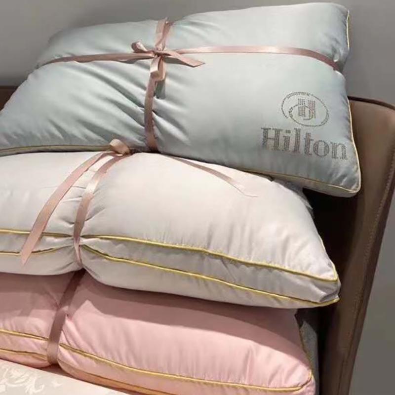 【一对装】五星级酒店羽丝绒枕芯希尔顿枕头水洗真丝超软护颈枕