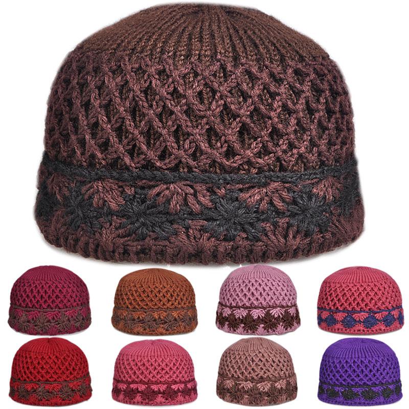 双层加厚手工编织老人毛线帽子秋冬女针织盆帽老太太奶奶帽妈妈帽图片