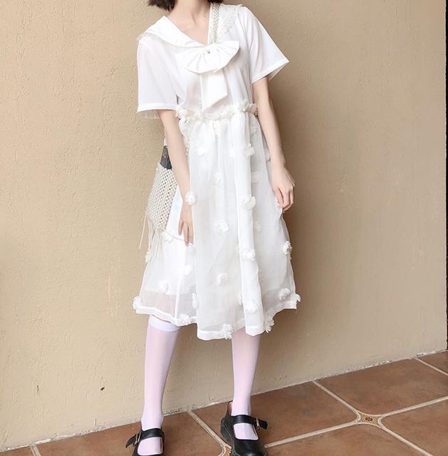 酸奶了原创夏日茉莉冰茶少女日系花朵重工拼接神仙海军领连衣裙热销5件不包邮