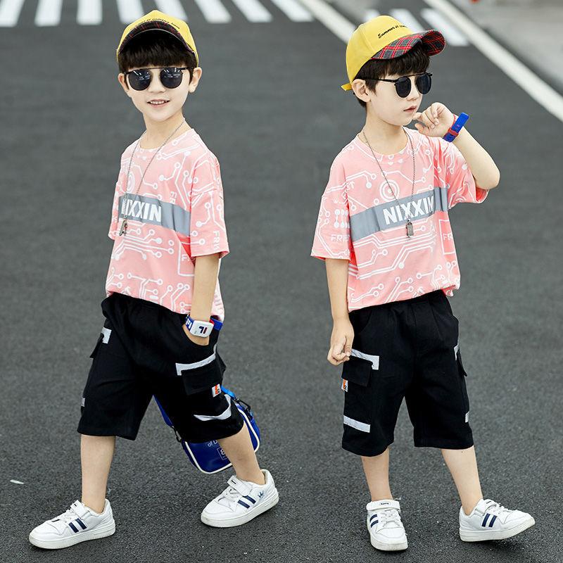 27儿童装男童夏装短袖反光套装2021新款中大童12男孩洋气韩版潮