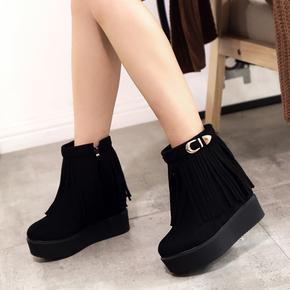 冬靴秋冬季短靴松糕底女鞋流苏靴坡跟厚底女靴子保暖内增高雪地靴