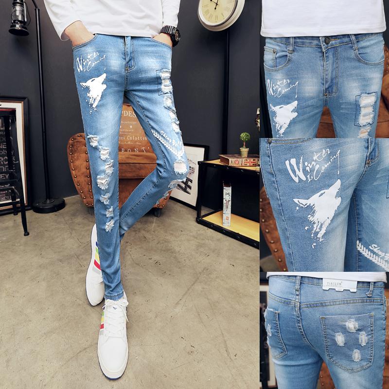 三色新款牛仔裤男长裤修身小脚裤个性破洞紧身裤1001K24P55